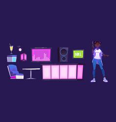 nightclub with bar dj console and dance floor vector image