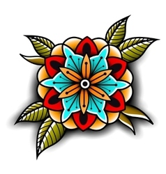 Old school tattoo flower vector