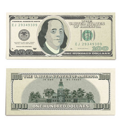 Realistic dummy one hundred usa dollars banknote vector