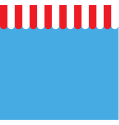 red and white strip shop awning with space red vector image