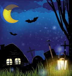 Scary night landscape vector image