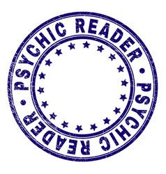 Scratched textured psychic reader round stamp seal vector