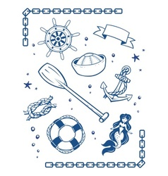 Sea and nautical symbols vector