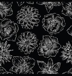 seamless pattern of various garden flowers vector image