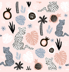 seamless pattern with hand drawn leopards and palm vector image