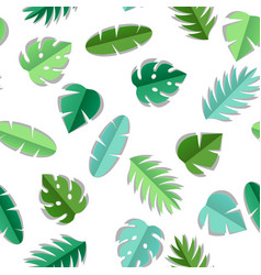 seamless pattern with paper palm leaves vector image
