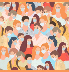Seamless pattern with young people go in masks vector