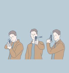 selfdefense criminal shot set concept vector image