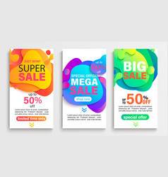 set liquid abstract sale banners vector image