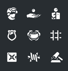 Set of corruption and punishment icons vector