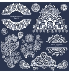 set ornamental indian symbols vector image