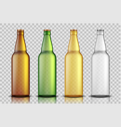 set realistic glass beer bottles isolated on vector image