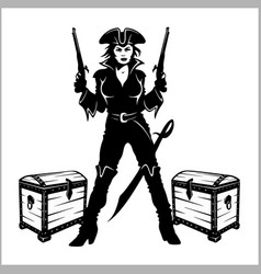 sexy pinup dressed as a pirate vector image
