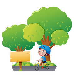 Sign template with boy on bike vector