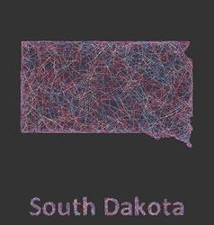 South Dakota line art map vector