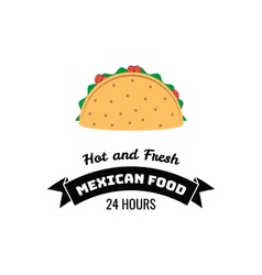 Taco Traditional mexican food Label template or vector