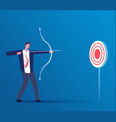 Target business concept businessman hitting vector