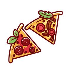 tasty pizza pieces with delicious salami and ripe vector image