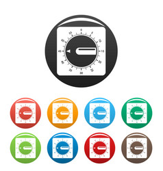 timer clock icons set color vector image