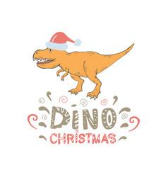 Tyrannosaurus with santa hat isolated vector