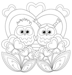 valentine day black and white poster with an owl vector image