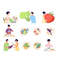 vegan lifestyle organic food isolated vegetarian vector image