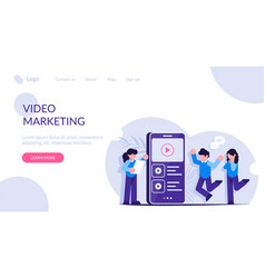 video marketing people view video content or ads vector image
