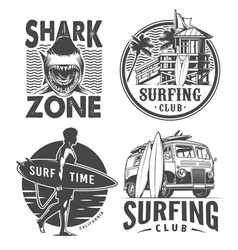 Vintage surf logos monochrome set vector