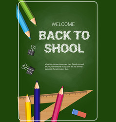 Welcome back to school poster colorful crayons vector