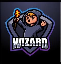 wizard mascot esport logo design vector image