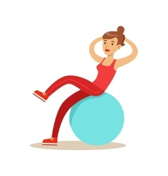 Woman Training Abs On Rubber Ball Member Of The vector image