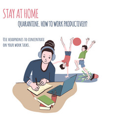 woman works at home kids are playing behind vector image