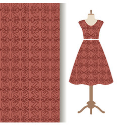 Women dress fabric with brown pattern vector