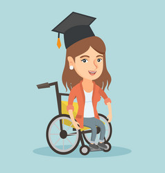 Young caucasian graduate sitting in wheelchair vector