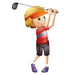 A boy golfing vector image