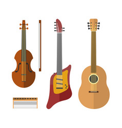 guitar icon stringed electric musical instrument vector image vector image