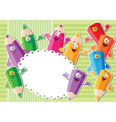 pencils sticker background vector image vector image
