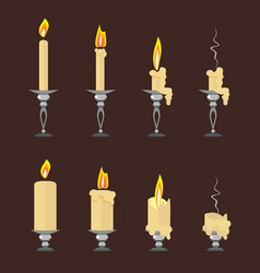 set of flat burning candles isolated on vector image