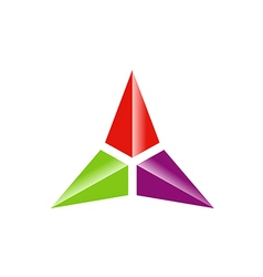 triangle three star color technology logo vector image