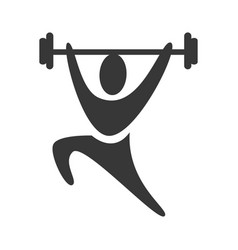 black silhouette pictogram man weightlifting icon vector image