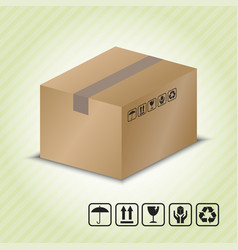Carton container with package handling symbol vector
