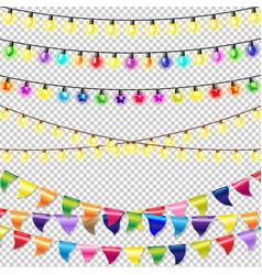 christmas lights set vector image