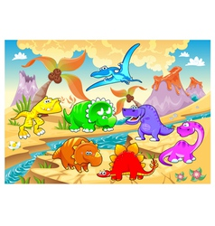 Dinosaurs rainbow in landscape vector image vector image