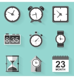 Flat icon set Time Clock White style vector image vector image