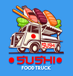 food truck japanese sushi sashimi delivery vector image vector image