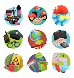 human occupation icons set symbols of different vector image vector image