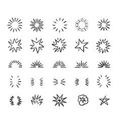 elegant ink brush circle bursts and whimsical vector image