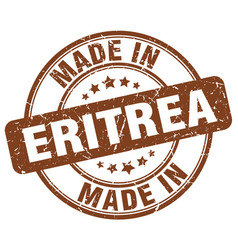 made in eritrea brown grunge round stamp vector image