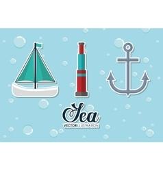 sailboat binoculars and anchor design vector image vector image