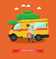 ambulance concept in flat vector image vector image